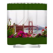 Golden Gate Bridge Flowers 2 Shower Curtain