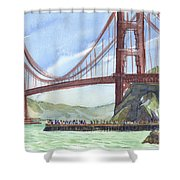 Golden Gate Bridge From Fort Baker, Ca Shower Curtain