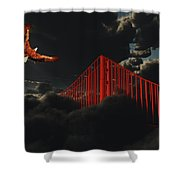 Golden Gate Bridge In Heavy Fog Clouds With Eagle Shower Curtain