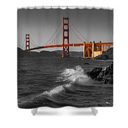Golden Gate Bridge Sunset Study 1 Bw Shower Curtain