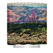 Golden Gate Bridge - Twin Peaks Shower Curtain
