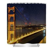 Golden Gate Bridge Under The Starry Night Sky Shower Curtain