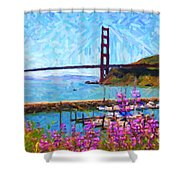 Golden Gate Bridge Viewed From Fort Baker Shower Curtain by Wingsdomain Art and Photography