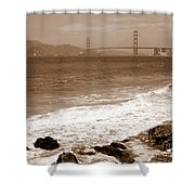 Golden Gate Bridge With Shore - Sepia Shower Curtain