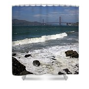 Golden Gate Bridge With Surf Shower Curtain