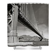 Golden Gate From The Water - Bw Shower Curtain by Darcy Michaelchuk