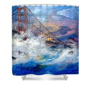 Golden Gate Sunset Shower Curtain