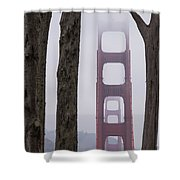 Golden Gate Through The Trees Shower Curtain