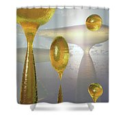 Golden Globs Shower Curtain by Richard Rizzo