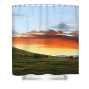 Golden Glow At Dusk Shower Curtain