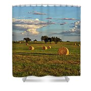 Golden Glow Over Haybales Shower Curtain