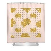 Golden Gold Blush Pink Floral Rose Cluster W Dot Bedding Home Decor Shower Curtain