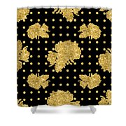 Golden Gold Floral Rose Cluster W Dot Bedding Home Decor Art Shower Curtain