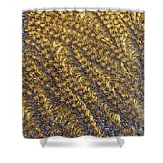 Golden Grains - Hoarfrost On A Solar Panel Shower Curtain