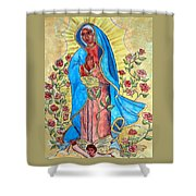 Golden Guadalupe Shower Curtain