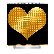 Golden Heart Black  Shower Curtain