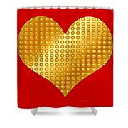 Golden Heart Red Shower Curtain