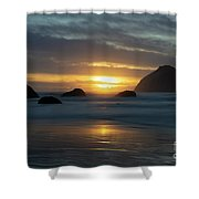 Golden Hour At Face Rock Shower Curtain