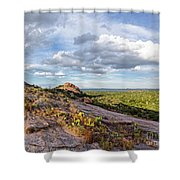 Golden Hour Light On Turkey Peak And Prickly Pear Cacti - Enchanted Rock Fredericksburg Hill Country Shower Curtain