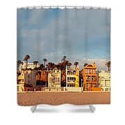 Golden Hour Panorama Of Santa Monica Condos And Bungalows - Los Angeles California Shower Curtain
