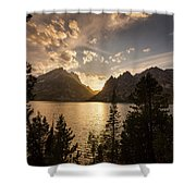 Golden Jenny Lake View Shower Curtain