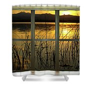 Golden Lake Bay Picture Window View Shower Curtain