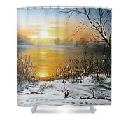 Golden Lake Sunrise  Shower Curtain