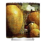 Golden Large Fountain Urns Shower Curtain