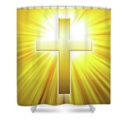 Golden Latin Cross With Sunbeams Shower Curtain