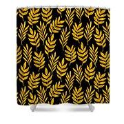 Golden Leaf Pattern Shower Curtain