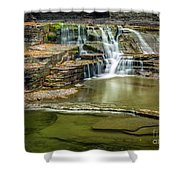 Golden Leaves And Mossy Tiers Of Enfield Glen Waterfall Shower Curtain