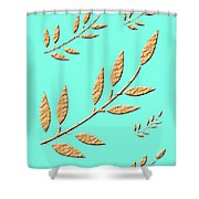 Golden Leaves On Aqua Shower Curtain