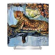 Golden Leopard Shower Curtain