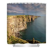 Golden Light At The Cliffs Of Moher Shower Curtain