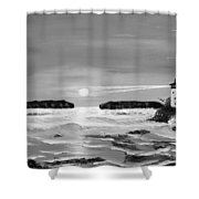 Golden Lighthouse Sunset In Black And White Shower Curtain
