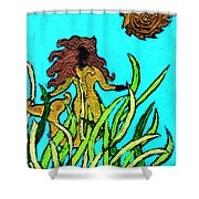 Golden Mermaid Shower Curtain