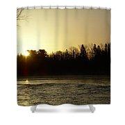 Golden Mississippi River Sunrise Shower Curtain