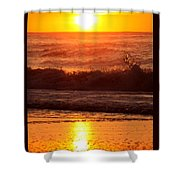 Golden Ocean City Sunrise Shower Curtain