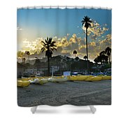 Golden Outriggers Shower Curtain