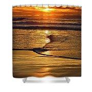 Golden Pacific Sunset Shower Curtain