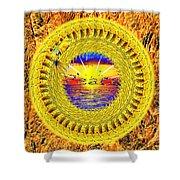 Golden Parrot Mandala Shower Curtain