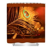 Golden Peacock Feather Shower Curtain