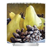 Golden Pears And Pine Cones Shower Curtain