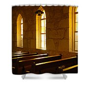 Golden Pews Shower Curtain