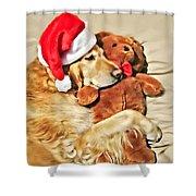 Golden Retriever Dog Christmas Teddy Bear Shower Curtain