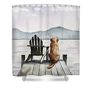 Golden Retriever On The Dock Shower Curtain