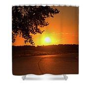 Golden Road Sunrise Shower Curtain
