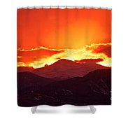 Golden Rocky Mountain Sunset Shower Curtain