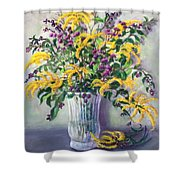 Violet And Gold Shower Curtain