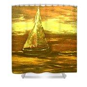 Golden Sailboat Days Shower Curtain